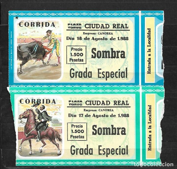 C150- LOTE DE - 2 ANTIGUAS ENTRADAS LA PLAZA DE TOROS DE CIUDAD REAL DE -1988 DE 1.500 PTAS (Coleccionismo - Tauromaquia)