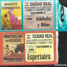 Tauromaquia: C150- LOTE DE - 2 ANTIGUAS ENTRADAS LA PLAZA DE TOROS DE CIUDAD REAL DE -1992 DE 1.500 Y 2.500 PTAS. Lote 166750882