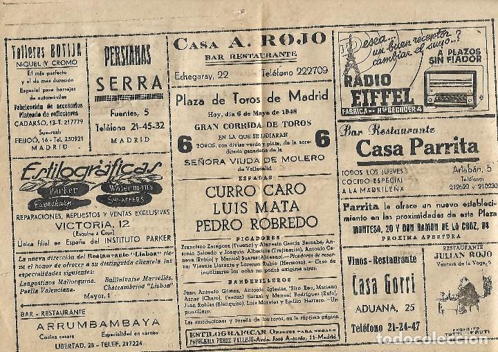 Tauromaquia: C150- 1948 PROGRAMA OFICIAL DE MANO PLAZA DE TOROS DE MADRID LAS VENTAS + ENTRADA - Foto 3 - 166756854