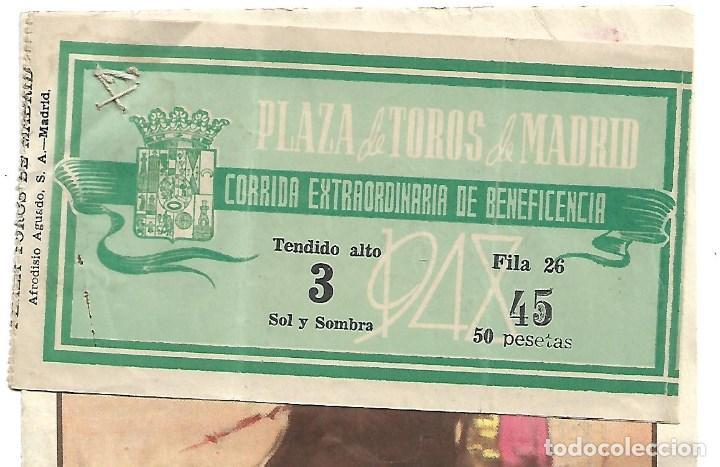Tauromaquia: C150- PROGRAMA DE TOROS DE PLAZA LAS VENTAS. MADRID- CORRD. BENEFICENCIA DEL 17- 6 -1948 + ENTRADA - Foto 2 - 166768750