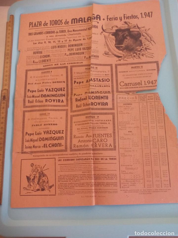 TOROS, CARTEL TAURINO 1947 MÁLAGA FERIA AGOSTO (Coleccionismo - Tauromaquia)