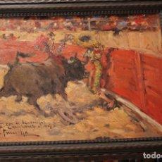 Tauromaquia: PINTURA AL ÓLEO DE JOAQUÍN TERRUELLA MATILLA. UN PAR DE BANDERILLAS DE CARNICERITO DE MÉXICO.. Lote 167953892