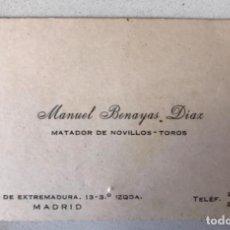 Tauromaquia: MANUEL BENAYAS DIAZ MATADOR DE NOVILLOS TOROS TARJETA VISITA ORIGINAL DIRECCION Y TELEFONO TORERO. Lote 168463728