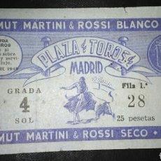 Tauromaquia: ENTRADA TOROS MADRID ALTERNATIVA RAFAEL ORTEGA 1949. Lote 169014576