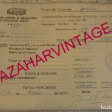 Tauromaquia: VALENCIA, 1984, HONORARIOS RECIBIDOS POR EL SORO, DOS CORRIDAS DE TOROS,RARO DOCUMENTO. Lote 169206408