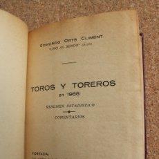 Tauromaquia: TOROS Y TOREROS EN 1968. RESUMEN ESTADÍSTICO. COMENTARIOS. ORTS CLIMENT (E.) UNO AL SESGO (HIJO). Lote 169639068