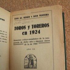Tauromaquia: TOROS Y TOREROS EN 1924. RESUMEN CRÍTICO-ESTADÍSTICO DE LA TEMPORADA DE DICHO AÑO Y .... Lote 169639192