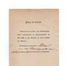 Tauromaquia: VITORIA.(ÁLAVA).- ENTRADA DE TOROS 1862 - ESTRADA A PALCO 120 AL PORTADOR - CIUDAD DE VITORIA. Lote 170650460