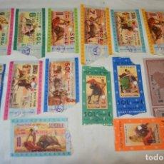 Tauromaquia: LOTE DE 14 ENTRADAS - PLAZA DE TOROS DE MÁLAGA - ANTIGUAS AÑO 1959 - EN REVERSO PUBLICIDAD VICTORIA. Lote 171452727
