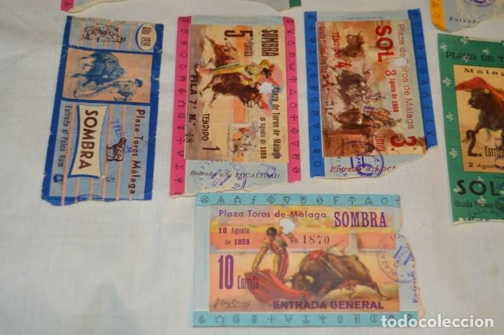 Tauromaquia: Lote de 14 entradas - Plaza de toros de Málaga - Antiguas año 1959 - En reverso publicidad Victoria - Foto 5 - 171452727
