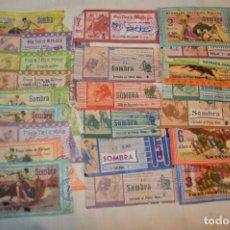 Tauromaquia: LOTE DE 23 ENTRADAS - PLAZA TOROS MÁLAGA - ANTIGUAS AÑO 1960/61/64/66 - REVERSO PUBLICIDAD VICTORIA. Lote 171454157
