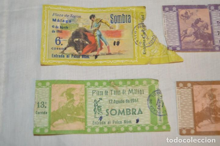Tauromaquia: Lote de 23 entradas - Plaza toros Málaga - Antiguas año 1960/61/64/66 - Reverso publicidad Victoria - Foto 3 - 171454157