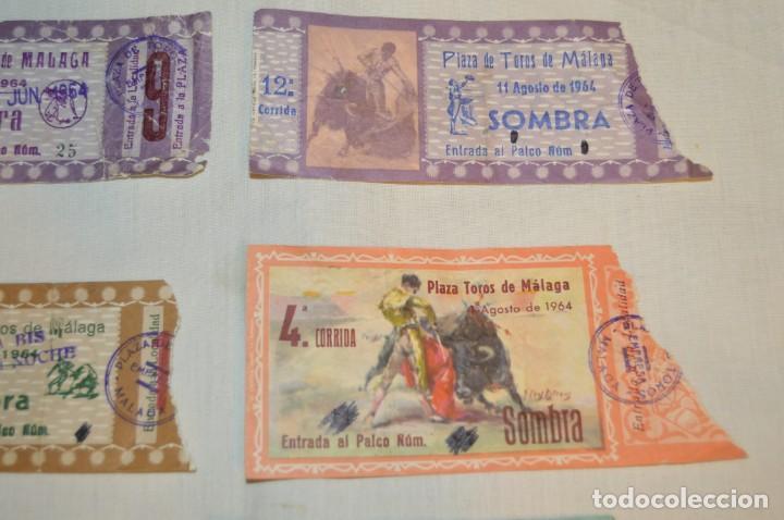 Tauromaquia: Lote de 23 entradas - Plaza toros Málaga - Antiguas año 1960/61/64/66 - Reverso publicidad Victoria - Foto 5 - 171454157