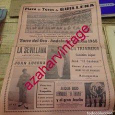 Tauromaquia: CARTEL DE TOROS. PLAZA DE GUILLENA. ESPECTACULO COMICO-TAURINO-MUSICAL ANDALUCIA TAURINA 1968.. Lote 171576842