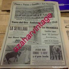 Tauromaquia: CARTEL DE TOROS. PLAZA DE EL CASTILLO DE LAS GUARDAS. ESPECTACULO COMICO-TAURINO-MUSICAL ANDALUCIA T. Lote 171576913