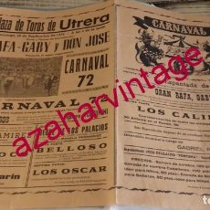 Tauromaquia: UTRERA, 1972, CARTEL ESPECTACULO COMICO-TAURINO-MUSICAL, CARNAVAL,72,43X31 CMS. Lote 171577180