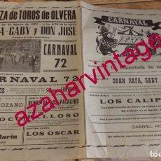 Tauromaquia: OLVERA, CADIZ, 1972, CARTEL ESPECTACULO COMICO-TAURINO-MUSICAL, CARNAVAL,72,43X31 CMS. Lote 171577272