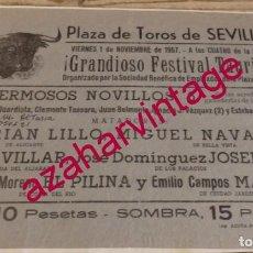 Tauromaquia: SEVILLA, 1957, CARTEL FESTIVAL TAURINO, 215X160MM. Lote 171577389