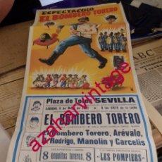 Tauromaquia: SEVILLA, 1982, CARTEL ESPECTACULO COMICO TAURINO, EL BOMBERO TORERO, AREVALO, 30X68 CMS. Lote 171577818