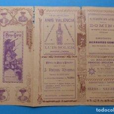 Tauromaquia: PROGRAMA TRIPTICO TOROS VALENCIA, AÑO 1900, LAGARTIJILLO, BONARILLO, FUENTES, ALGABEÑO. Lote 171606239