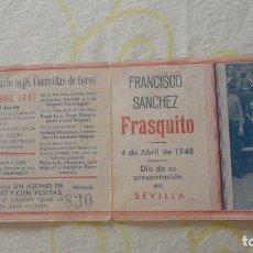 Tauromaquia: PROGRAMA.TOROS.SORTEO.FRANCISCO SANCHEZ FRASQUITO.FERIA SEVILLA 1948.GITANILLO.CHONI.DOMINGUIN. Lote 171712067