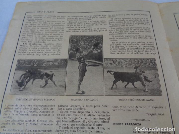 Tauromaquia: Revista de toros Oro y plata MARZO 1921 --- Numero 5 --- MANUEL GRANERO -- CHICUELO - SALERI - Foto 6 - 171977272