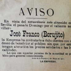Tauromaquia: PLAZA DE TOROS DE JEREZ. 1921. AVISO CONTRATACION NOVILLERO JOSE FRANCO (BORUJITO).. Lote 172657637