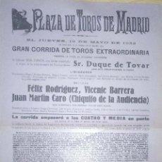 Tauromaquia: PLAZA DE TOROS DE MADRID.1932. FELIX R. VICENTE BARRERA. JUAN MARTIN CARO CHIQUITO DE LA AUDIENCIA.. Lote 172717679