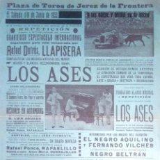 Tauromaquia: PLAZA DE TOROS DE JEREZ. 1933. ESPECTACULO COMICO-TAURINO. LOS ASES. LEER.. Lote 172718169