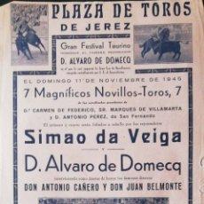 Tauromaquia: PLAZA TOROS DE JEREZ. 1945. DOMINGO ORTEGA. PEPE BIENVENIDA. JUAN BELMONTE. LEER.. Lote 172734022