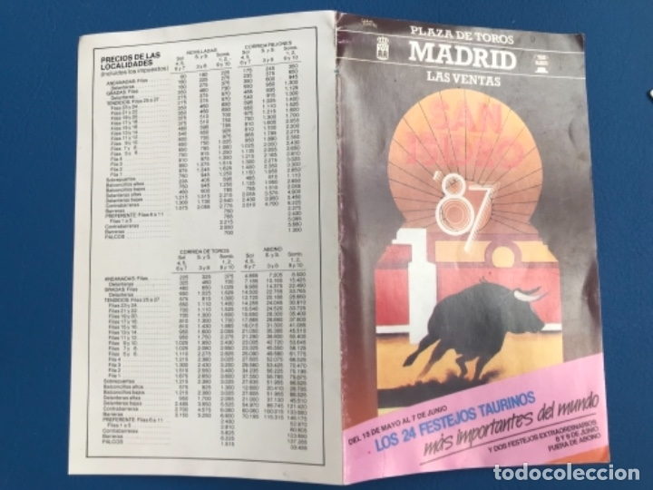 Tauromaquia: Corridas san isidro 1987 programa completo abono las ventas precios todas festejos y toreros - Foto 5 - 177196687