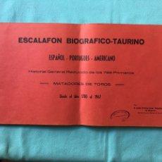 Tauromaquia: ESCALFON BIOGRAFICO-TAURINO. 1700-1967. ESPAÑOL, PORTUGUES, AMERICANO. Lote 177312543