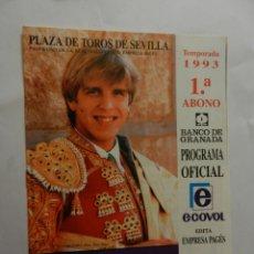 Tauromaquia: PROGRAMA OFICIAL 1993 - PLAZA DE TOROS DE SEVILLA - EL CORDOBÉS.. Lote 178714320