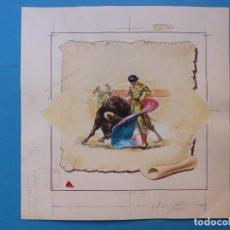 Tauromaquia: TOROS - DIBUJO ORIGINAL PINTADO A MANO POR DONAT SAURI Y LETRA DE JUAN REUS - AÑOS 1950-60. Lote 178973103
