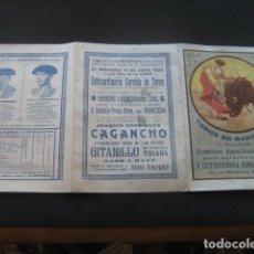 Tauromaquia: PROGRAMA TOROS PLAZA MONUMENTAL BARCELONA 1930. CAGANCHO, GITANILLO DE TRIANA. Lote 179092227