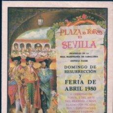 Tauromaquia: CARTEL PEQUEÑO FORMATO PLAZA TOROS SEVILLA - ABRIL 1980. Lote 179252596