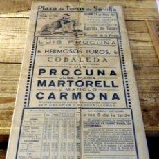 Tauromaquia: CARTEL DE TOROS.SEVILLA. LUIS PROCUNA, JOSE MARIA MARTORELL Y MANOLO CARMONA. AÑO 1951. CORPUS. Lote 179397971