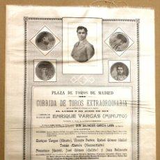 Tauromachie: CARTEL EN SEDA PLAZA DE TOROS DE MADRID. DESPEDIDA DEL MATADOR ENRIQUE VARGAS, MINUTO. Lote 179964665