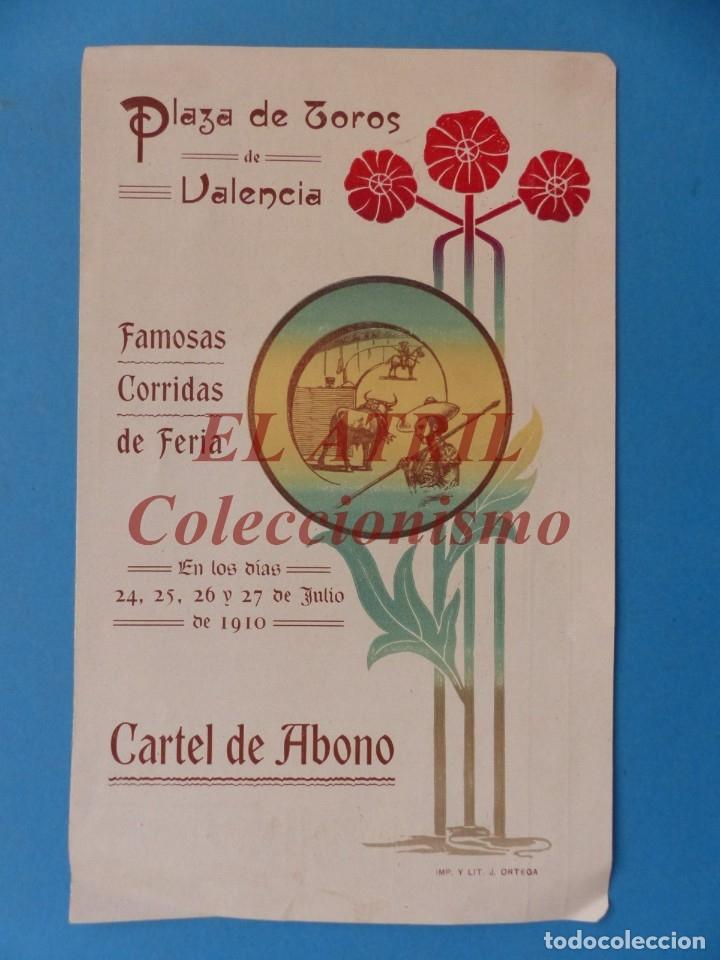 VALENCIA - PROGRAMA DOBLE DE TOROS - AÑO 1910 - BOMBITA, MACHAQUITO, PEPETE Y GALLO, PABLO ROMERO (Coleccionismo - Tauromaquia)
