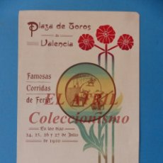Tauromaquia: VALENCIA - PROGRAMA DOBLE DE TOROS - AÑO 1910 - BOMBITA, MACHAQUITO, PEPETE Y GALLO, PABLO ROMERO. Lote 180442907
