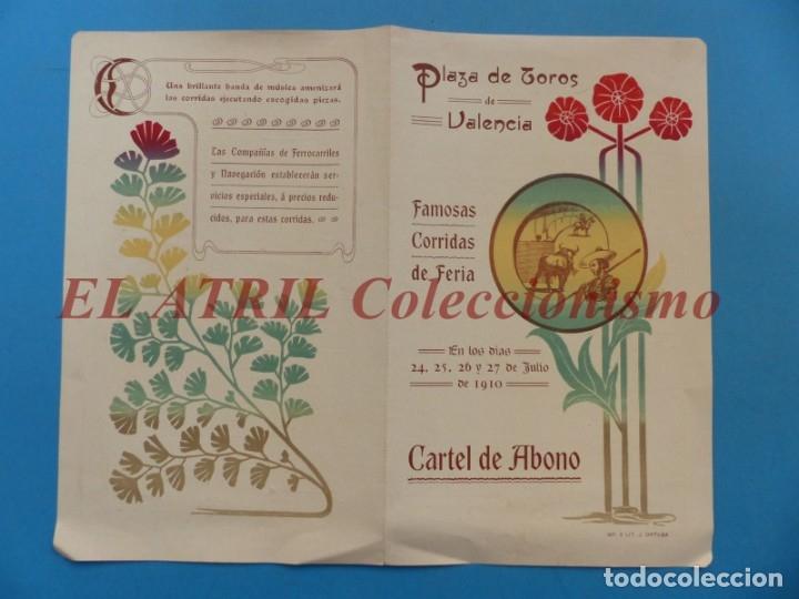 Tauromaquia: VALENCIA - PROGRAMA DOBLE DE TOROS - AÑO 1910 - BOMBITA, MACHAQUITO, PEPETE Y GALLO, PABLO ROMERO - Foto 2 - 180442907