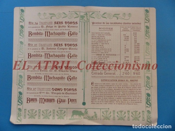 Tauromaquia: VALENCIA - PROGRAMA DOBLE DE TOROS - AÑO 1910 - BOMBITA, MACHAQUITO, PEPETE Y GALLO, PABLO ROMERO - Foto 3 - 180442907
