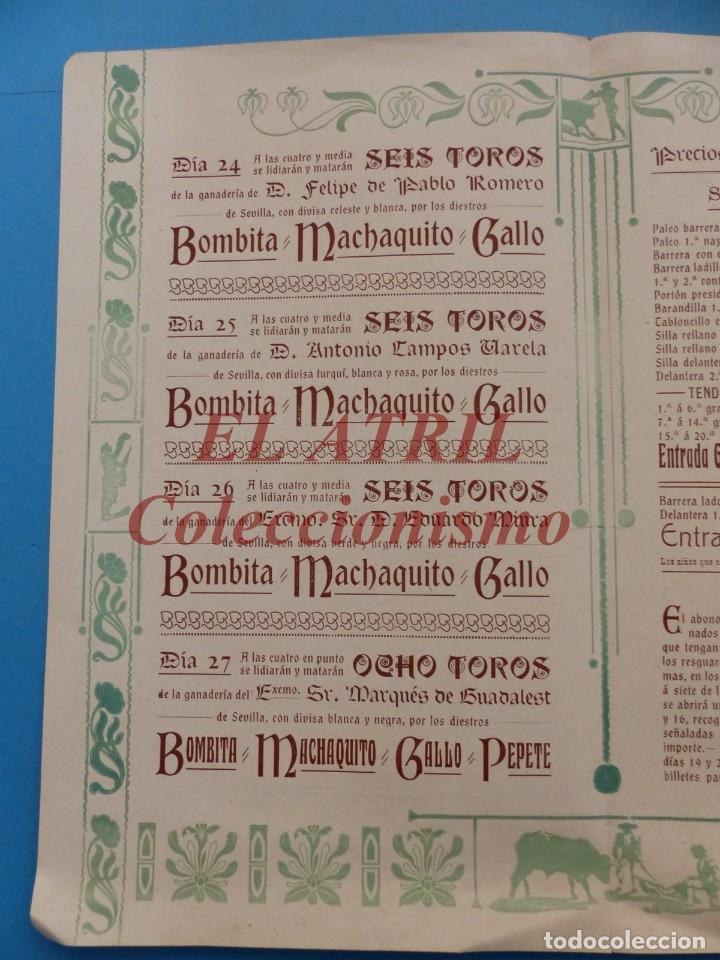 Tauromaquia: VALENCIA - PROGRAMA DOBLE DE TOROS - AÑO 1910 - BOMBITA, MACHAQUITO, PEPETE Y GALLO, PABLO ROMERO - Foto 4 - 180442907