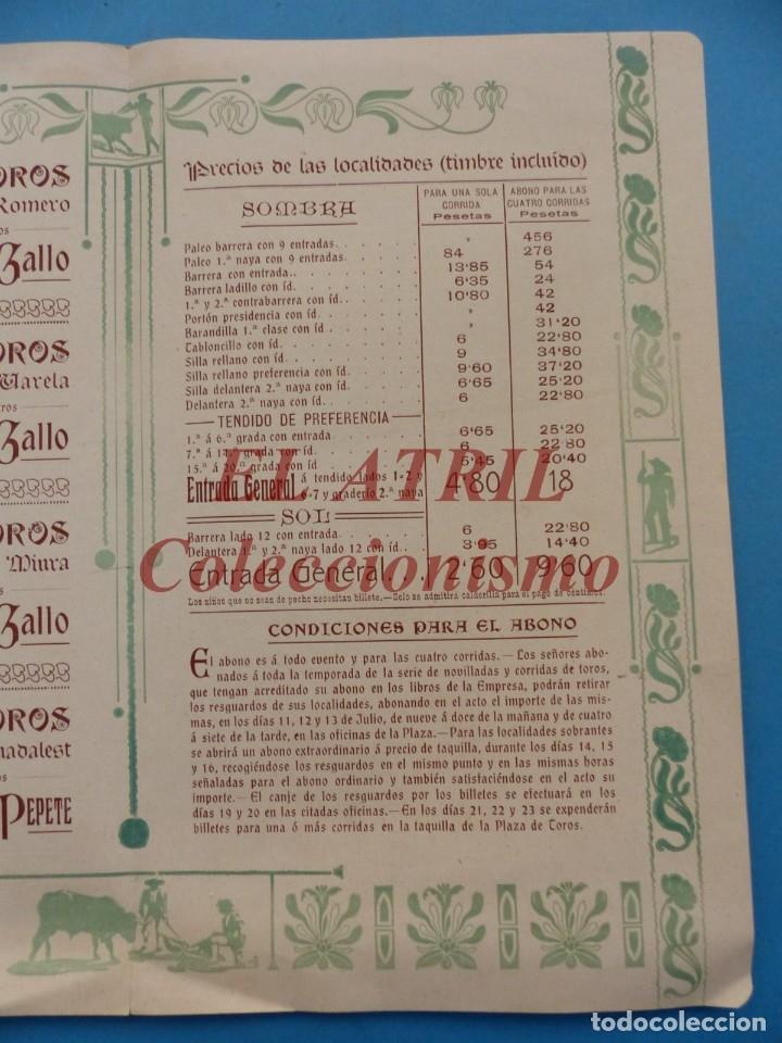 Tauromaquia: VALENCIA - PROGRAMA DOBLE DE TOROS - AÑO 1910 - BOMBITA, MACHAQUITO, PEPETE Y GALLO, PABLO ROMERO - Foto 5 - 180442907
