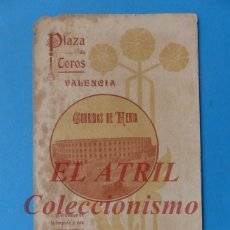 Tauromaquia: VALENCIA - PROGRAMA DOBLE DE TOROS - AÑO 1920 - GALLO, BELMONTE, PABLO ROMERO, CONCHA Y SIERRA. Lote 180444245