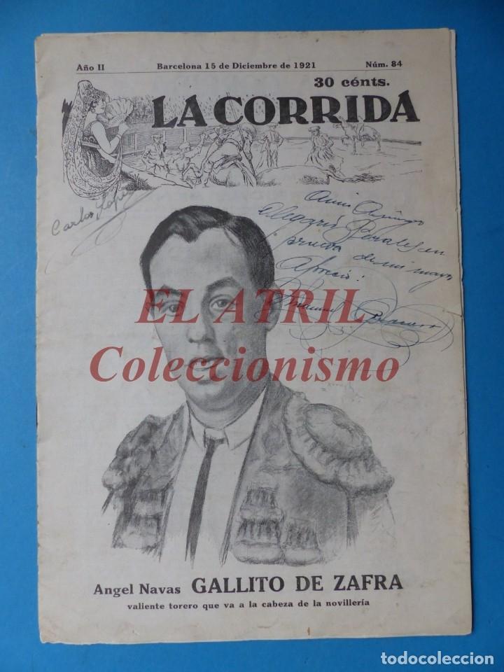 REVISTA TOROS LA CORRIDA, Nº 84 - AÑO 1921 - AUTOGRAFO ORIGINAL TORERO MANUEL GRANERO - MUY RARO (Coleccionismo - Tauromaquia)