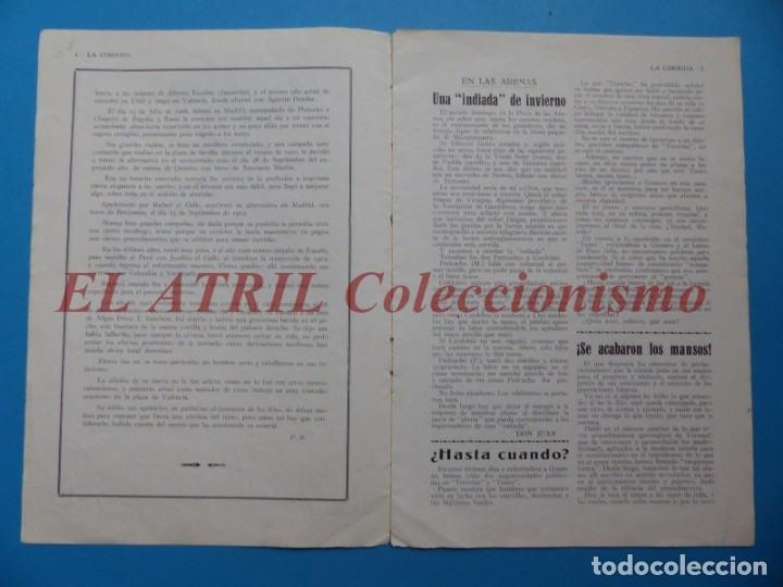 Tauromaquia: REVISTA TOROS LA CORRIDA, Nº 84 - AÑO 1921 - AUTOGRAFO ORIGINAL TORERO MANUEL GRANERO - MUY RARO - Foto 4 - 180481902