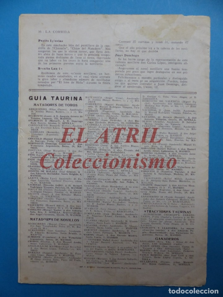 Tauromaquia: REVISTA TOROS LA CORRIDA, Nº 84 - AÑO 1921 - AUTOGRAFO ORIGINAL TORERO MANUEL GRANERO - MUY RARO - Foto 11 - 180481902