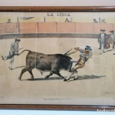 Tauromaquia: LITOGRAFÍA ENMARCADA REVISTA LA LIDIA. FINALES SIGLO XIX. COGIDA DE FERNANDO GÓMEZ GALLO. TOROS. Lote 182092595