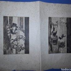 Tauromaquia: DOS LAMINAS ANTIGUAS DE TOROS, BANDERILLAS DE FUEGO Y MARTINCHO EN LA PLAZA DE ZARAGOZA. Lote 182174957